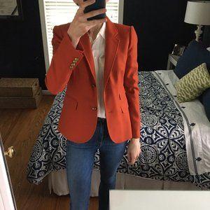 J. Crew Size 2 Orange Wool Schoolboy Blazer